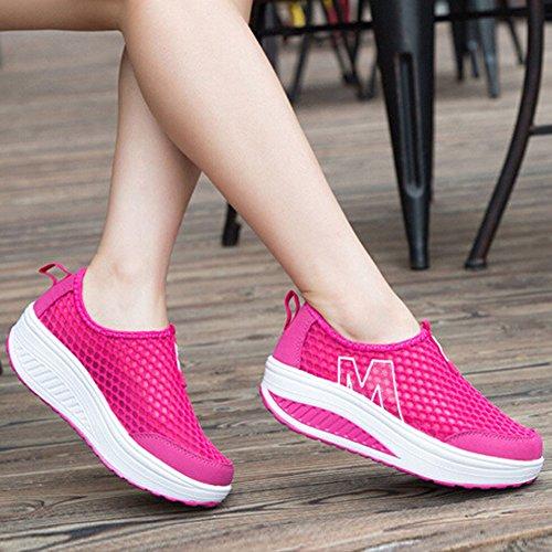 Sports Walking On Wedges Platform Slip Padgene Shoes Tennis Red Lightweight Womens Shoes Sneakers Mesh qwHvg0