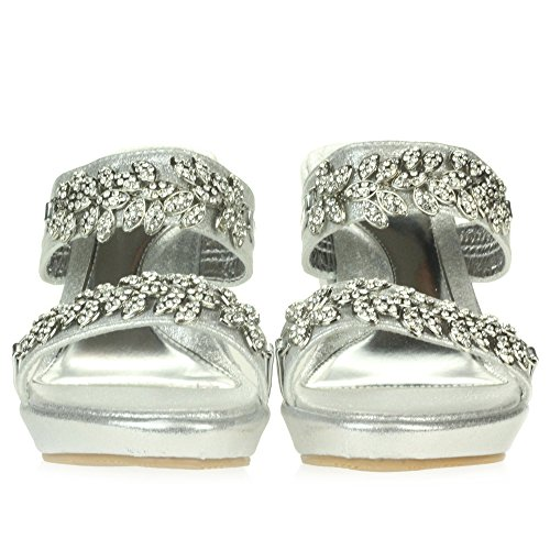 AARZ LONDON Womens Ladies Crystal Diamante Evening Wedding Party Prom Bridal Slip-On Wedge Heel Sandals Shoes Size Silver hT7Kwbv