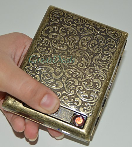 Antique Gold USB Rechargeable Windproof Metal Electric Built-in Flame Less Lighter Cigarette Cigar Storage Case (FREE CAR sticky pad for Phone PDA MP3 MP4) GD-1381