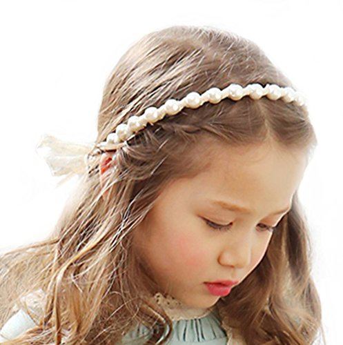 wer Headband Crown Lace Pearl Garland Wreath Princess Headpiece for Wedding (Flower Girl Headpiece)