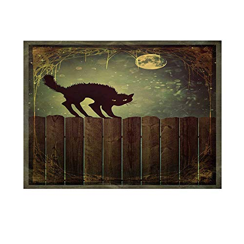 Halloween Photography Background,Angry Aggressive Cat on Old Wood Fences at Night Framework Eerie Vintage Print Decorative Backdrop for Studio,10x10ft