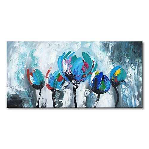 Blue Flowers Oil Painting Hand Painted Abstract Canvas Wall Art