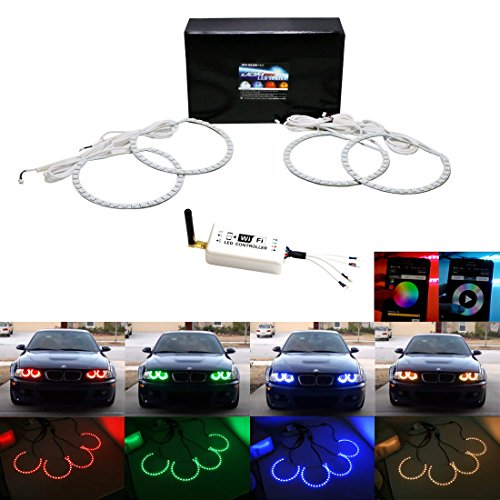 iJDMTOY Multi-Color 120-SMD RGB LED Angel Eyes Halo Ring Lighting Kit w/ Wireless WIFI Remote Controller for BMW E36 E46 E38 E39 3 5 7 Series