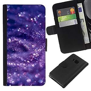 [Neutron-Star] Modelo colorido cuero de la carpeta del tirón del caso cubierta piel Holster Funda protecció Para HTC One M7 [Purple Blue Glitter Agua Luminoso]