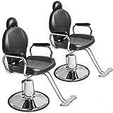 Set of 2 Height Adjustable Hydraulic Recline Barber Chair Salon Beauty Spa Shampoo StylingChair 20 inch width