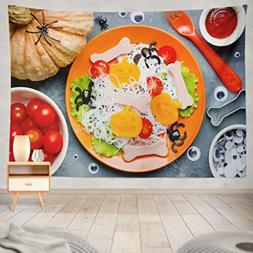 KJONG Creative Halloween Healthy and Funny Food Kids Scary Spaghetti with Pumpkin and Art Baby Bone Celebration ChildDecorative Tapestry,60X80 Inches Wall Hanging Tapestry for Bedroom Living Room for $<!--$19.99-->