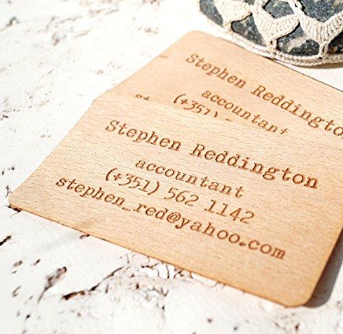 Wooden Business Cards, Engraved Wooden Veneer Business Cards, Wooden Cards - Set of 50