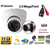 2.0 Megapixel PoE Onvif Full HD Sony CMOS 1080P Network Camera 30m IR Night Vision Outdoor Dome IP Camera with 4X Motorized Zoom Varifocal Lens 2.8-12mm Waterproof Vandalproof