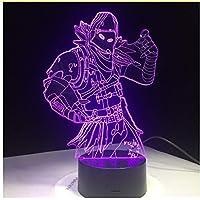 Sykdybz Raven Skins - Lámpara LED 3D de 7 colores con interruptor táctil, lámpara de mesa de lava, acrílico, iluminación de habitación, juego de ventilador, regalos remotos