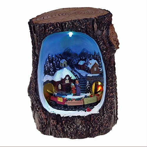 Lightahead Christmas scene in a Log A Multi Colored LED Lighted Rotating Musical scene with 8 melodies (Train) by Lightahead