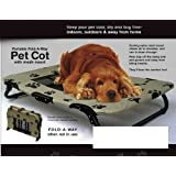 PAW PRINT DESIGN INDOOR/OUTDOOR PORTABLE FOLD-AWAY PET COT WITH MESH INSERT