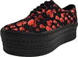 Maxstar Skull Patterned Oxford Boat Platform Sneakers Shoes Red 8 B(M) US Womens