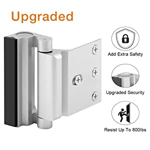 """Home Security Door Lock, Upgrade Easy Open Childproof Door Reinforcement Lock with 3"""" Stop Withstand 800 lbs for Inward Swinging Door, Nightlock Deadbolt Defend Your Home (Silver)"""