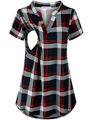 (JOYMOM Breastfeeding Shirts Short Sleeve,Womens Charming V Collar Plaid Fit Great Nursing Tunics Tops Maternity Trapeze Flowing Boutique Clothes Pregnancy Blouses Daily Wear Blue Red M)