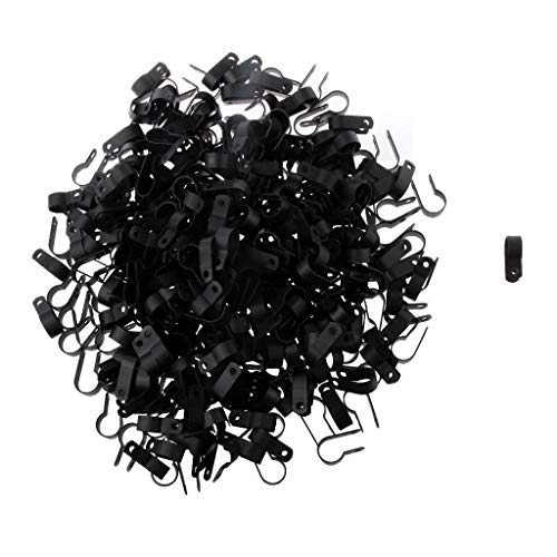 (1000x R -Type Coaxial Cat5 Cat6 Cable Clamp Electrical Wire Clip 16mm Black)