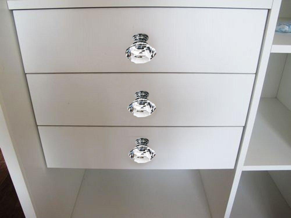 Amazon.com: Sumnacon® 10 Pcs 40MM Clear Crystal Door Knobs   Diamond  Wardrobe Doorknob/ Crystal Drawer Knobs / Cabinet Handle Pulls / Cupboard  Handle Knobs ...