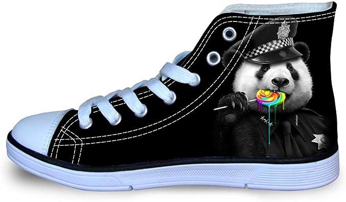 Canvas High Top Sneaker Casual Skate Shoe Mens Womens Panda Bear Rainbow Lollypop Police Cop