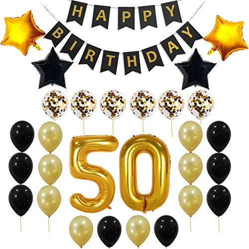 decocheer 50th Birthday Decorations Gift for Men Women - 50th Birthday Balloons, Confetti Balloons, Happy Birthday Banner, 50 Gold Number Balloons,