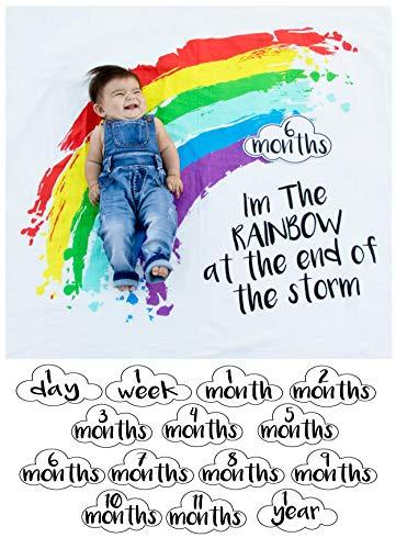Baby First Year Milestone Rainbow Blanket 100 Percent Organic Muslin Cotton