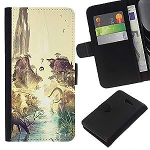 LECELL--Cuero de la tarjeta la carpeta del tirón Smartphone Slots Protección Holder For Sony Xperia M2 -- Dinosaurio surrealista Venado Tierra --