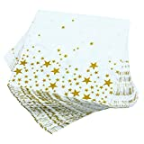 Aneco 150 Pack Napkins White with Gold Stars Cocktail Napkins for Wedding, Party, Birthday, Dinner, Lunch, Napkins with 2 Layers, 5 by 5 Inches