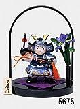 置物 コンパクト ミニ 若武者 端午の節句を飾る 陶製の五月人形 染錦 出陣大将(手籠台付)