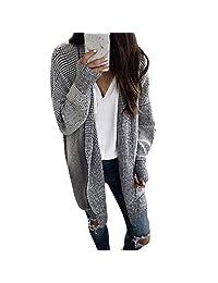 CieKen Women Hooded Knit Cardigans Button Cable Sweater Coat