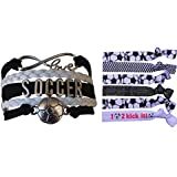 Infinity Collection Girls Soccer Gift Set, Soccer Bracelet and Soccer Hair Ties, Perfect Soccer Gifts for Girls