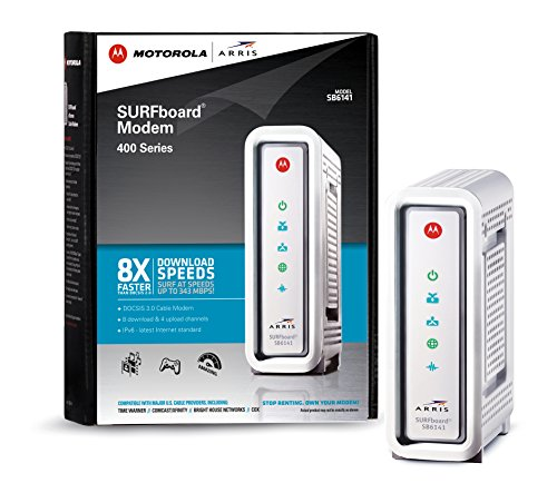 ARRIS  Motorola SurfBoard SB6141 DOCSIS 3.0 Cable Modem - Retail Packaging - White