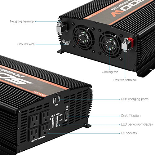 POTEK 4 DC to AC Car Inverter with 2 USB