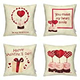 "HIPPIH 4 Packs Valentine's Day Square Pillowcases - ""You Make My Heart Smile"" 18 X 18 Inch Cotton Linen Sofa & Bed Home Decor Gift for Your Beloved"
