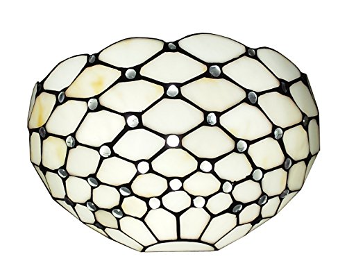 (Amora Lighting AM1097WL12 Tiffany Style 1 Light White Wall Sconce Lamp 12 in)