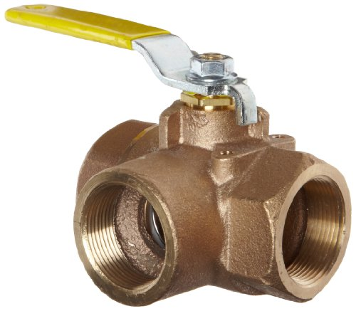 - Apollo 70-600 Series Bronze Ball Valve, Two Piece, 3-Port Diverting, Lever, 1/2