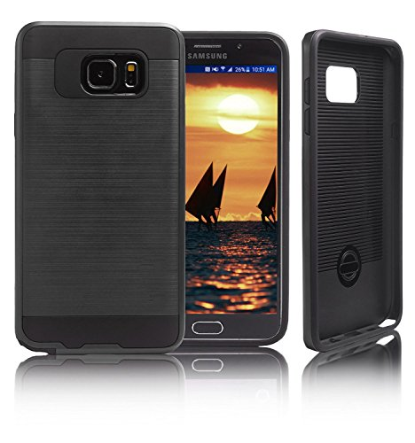 Samsung Galaxy Note 5 Case, [Dual Layer: Thin Silicone Interior + Heavy Duty Solid PC Back] Slim and Lightweight Case with Scratch Resistant Brushed Surface (4 Spigen Note Case Flip)