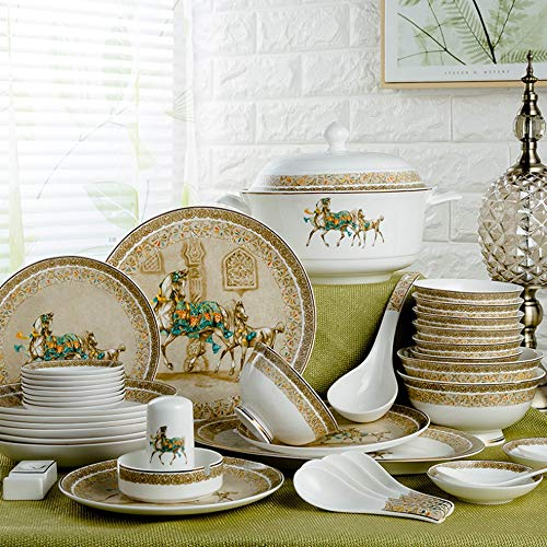 YLee Bone China Dinner Set - 46 Pieces of Jin Ge Iron Horse Ceramic Tableware, Anniversary, Safe Use of Dishwasher and Microwave -