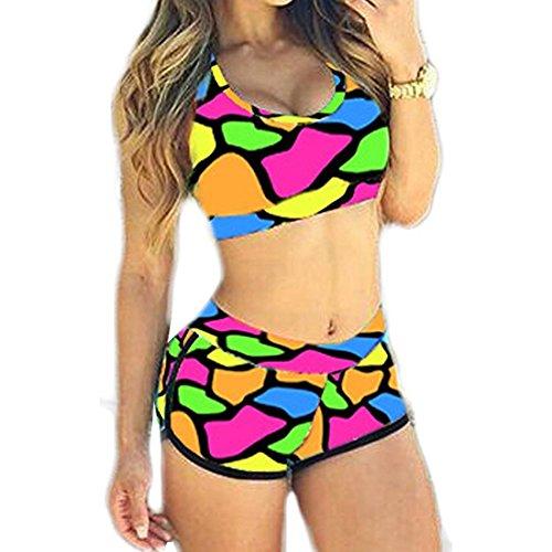 b436c01e73b Abuyall Women Floral Beachwear Sexy Plus Size Tank Top Tankini Bikini Set C  CNs