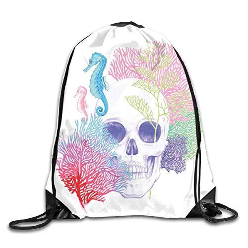 Drawstring Backpacks Bags,Halloween Skull Skeleton Head With Coral Reef Dead Aquarium Pirate Wildlife Image,5 Liter -