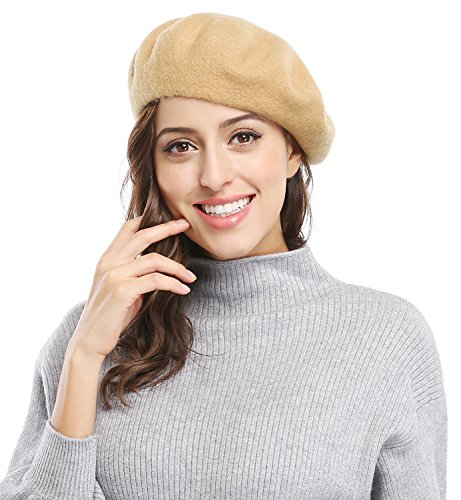 [Women Solid Color French Wool Beret, Camel Color] (Labor Day Parade Costumes For Sale)