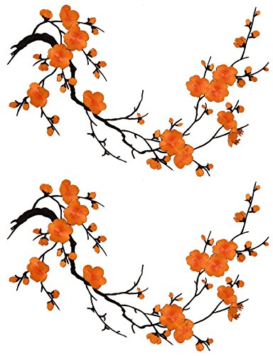 Two Asian Cherry Blossom Sakura Flower Iron on Embroidered Appliques Patch Japanese Chinese (Orange)