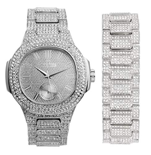 Bling-ed Out Oblong Case Metal Mens Watch w/Matching Bracelet Gift Set - 8475B - Silver from Charles Raymond