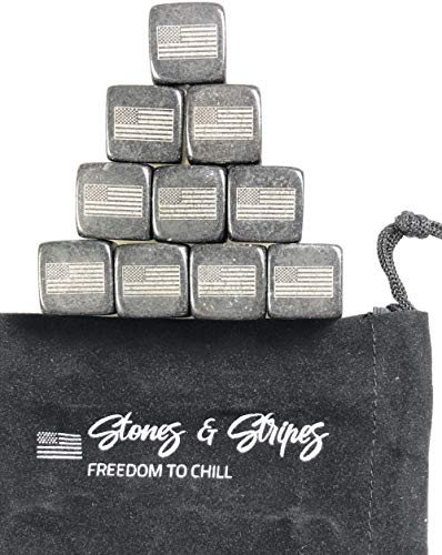 (Whiskey Stones, Stones & Stripes American Flag Whiskey Stones, Set of 9 Gift Package)
