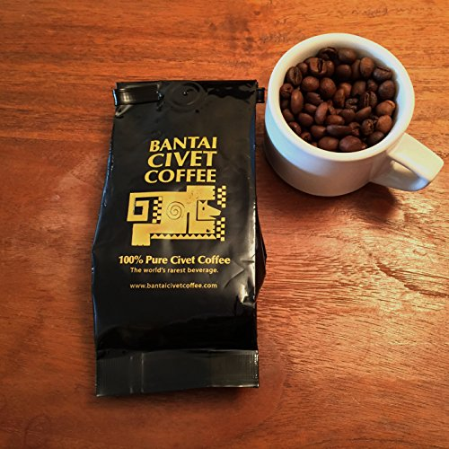 Kopi Luwak Bantai Blameless Organic Shade Grown Civet Coffee - Whole Medium Roast Robusta Beans - Roasted in the USA, Imported from the Philippines - 4 Ounces