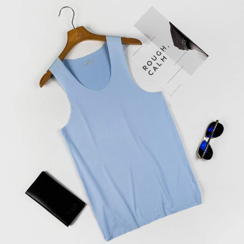 PASHY Casual Tee Men's Premium Basic Solid Tank Top Jersey Casual Shirts - Work Wear T- Shirts Blue by PASHY (Image #2)