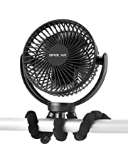5000mAh Rechargeable Battery Powered Clip Fan with Flexible Tripod, Super Quiet, 3 Speed, 360° Rotatable, Portable Handheld USB Clip on Fan for Room Cart Stroller Bike Car Seat Camping Beach Outdoor