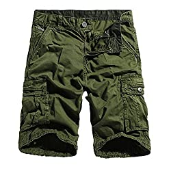 Men's Cotton Lesuire Multi Pockets Cargo Shorts black 36