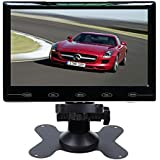 SallyBest® 7'' Ultra Thin HD 800*480 TFT Color LCD Screen 2 Video Input Car Rear View Headrest Monitor DVD VCR Monitor with Remote Control and Touch Button