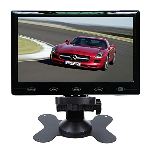 PONPY 7″ Ultra Thin HD 1024×600 Color TFT LCD Screen 2 Channel RCA Video Input Car Rear View Headrest Monitor for Car DVD/VCR/STB/Backup Camera/Satellite Receiver