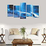Hotel or Spa Wall Decorations Blue Waterfall Rooms Wall Paintings Living Room Canvas Prints Fashion Personalities Decor 5 Piece Canvas painting (No Frame)