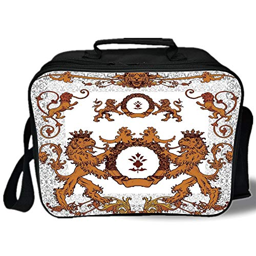 Medieval 3D Print Insulated Lunch Bag,Heraldic Lions Antique Armor Victorian Vintage Old Symbols Sign Art Design,for Work/School/Picnic,White and Ginger]()