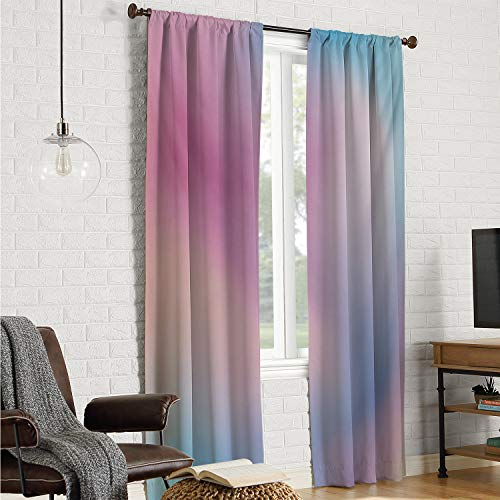 Mozenou Home Decoration Curtains Pastel,Abstract Blurry Colors Composition Sweet Daydream Fantasy Miscellaneous,Pink Aqua Peach White W96 x L84 Inch